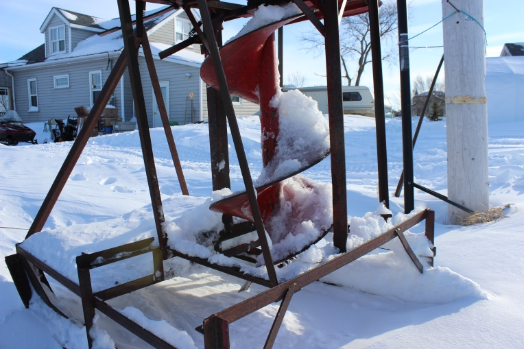 One mean looking ice auger. (photo robin summerfield)